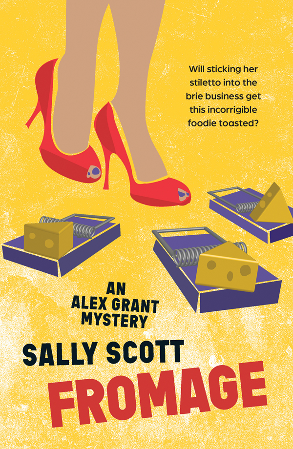 Fromage by Sally Scott book cover. A person wearing red high heels avoids mousetraps set with cheese.